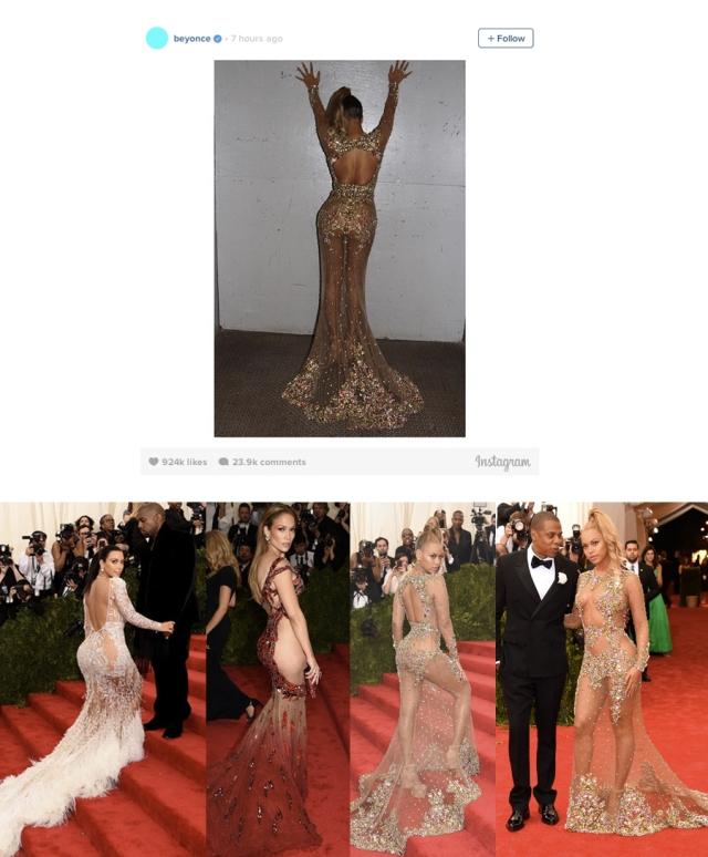 Imagens da Gala Met 2015, ontem; em cima, uma das fotos que Beyoncé partilhou no seu Instagram, para mostrar o vestido que levaria; em baixo, da esqª para a direita, Kim Kardashian; Jennifer Lopez ; e de novo Beyoncé; todas na mesma festa.